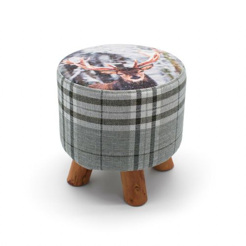 ROUND OTTOMAN FOOTSTOOL FOOTREST POUFFE PADDED CHAIR SEAT STOOL - STAG 28 x 28cm